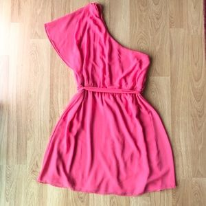 Express One Shoulder Knee Length Dress Coral Large